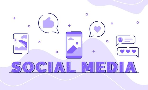 Sociale media typografie woord kunst achtergrond van pictogram foto post feedback commentaar met kaderstijl