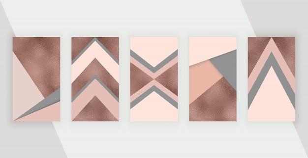 Sociale media verhalen achtergrond met roze, rose gouden geometrisch ontwerp.