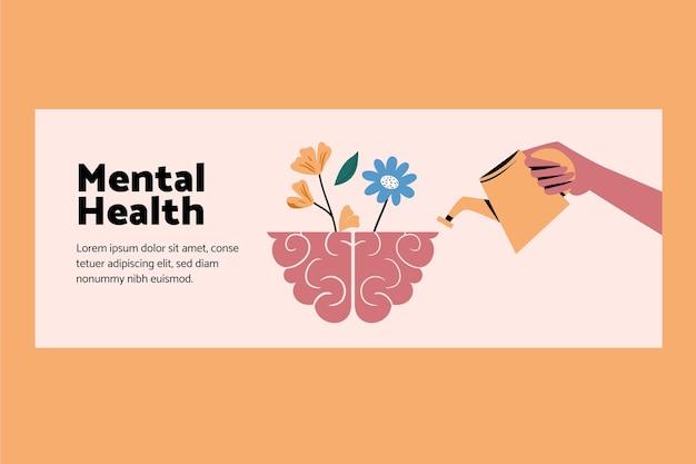 Sociale media voorbladsjabloon voor geestelijke gezondheid