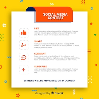 Sociale media wedstrijdachtergrond met stappen