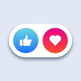 Sociale media zoals en hartpictogrammen