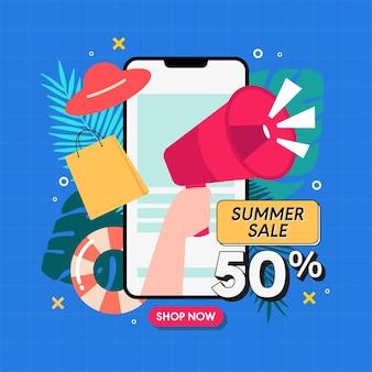 Sociale media zomer verkoop promotie concept