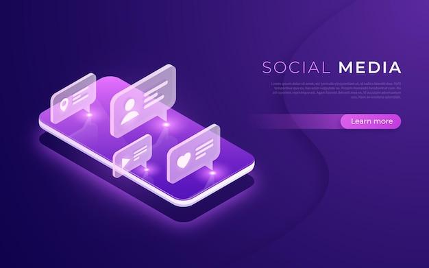 Sociale mediacommunicatie, netwerken, chatten, messaging, volgend isometrisch concept vectorillustratie