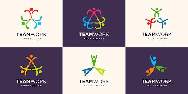 Sociale mensen eenheid samen teamwork logo icon vector