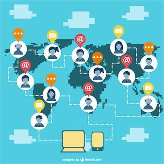 Sociale netwerk pixel stijl illustratie