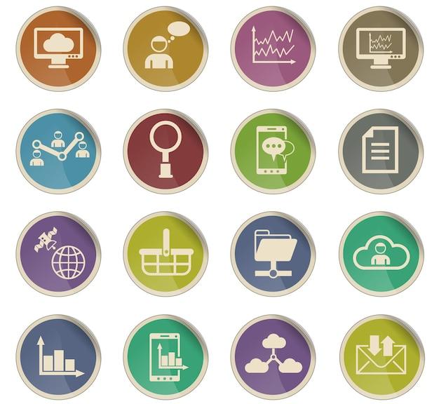 Sociale netwerk vectorpictogrammen in de vorm van ronde papieren etiketten