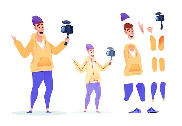 Sociale netwerk video blogger animatieset. mannelijke influencer met videocamera verschillende been, armen gezichtsuitdrukking en kapsel. streamer maken.