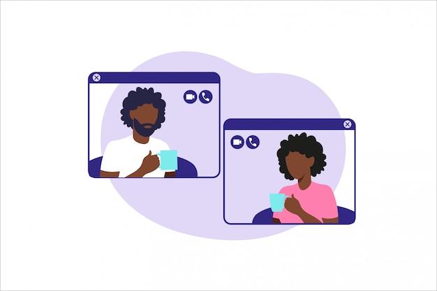 Sociale netwerken, chatten, dating-app. illustratie voor online dating app-gebruikers. vlakke afbeelding afro-amerikaanse man en vrouw kennis in sociaal netwerk.