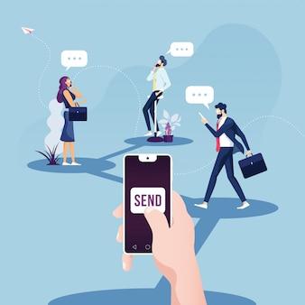 Sociale netwerkmarketing en digitaal zakendoen op mobiel
