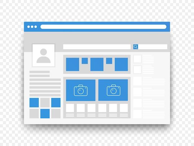 Sociale netwerkpagina-interface ui-concept op transperant alfa-achtergrond