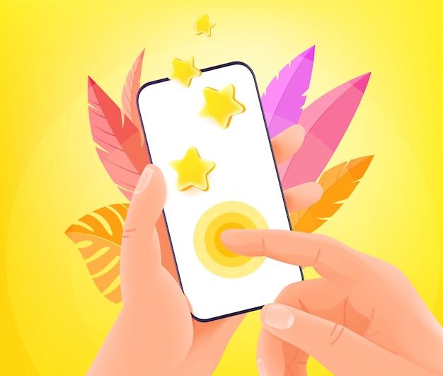 Sociale netwerkreactie via smartphone. man met moderne smartphone en tikken op het scherm. trendy stijl illustratie