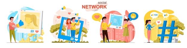 Sociale netwerkscènes in vlakke stijl