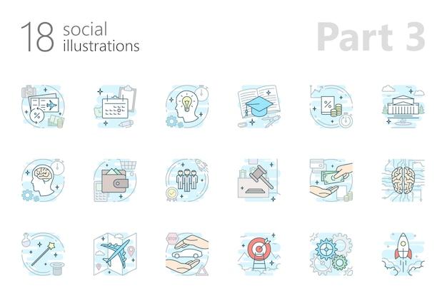 Sociale omtrek gekleurde illustraties