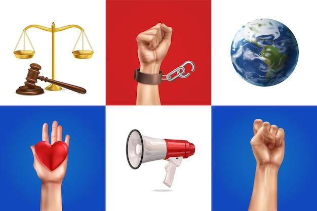 Sociale rechtvaardigheid illustraties set