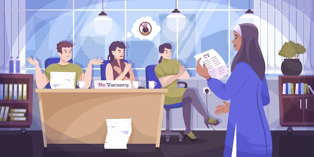 Sociale rechtvaardigheid religie platte samenstelling de mogelijkheid om in een prestigieus bedrijf te werken voor een persoon met een andere religie-illustratie