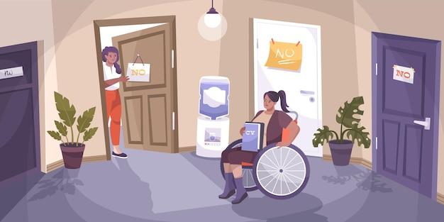 Sociale rechtvaardigheid uitgeschakeld platte compositie met onredelijke ontkenningen voor een gehandicapte in rolstoelillustratie