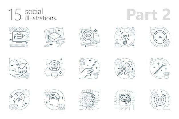 Sociale schetsillustraties