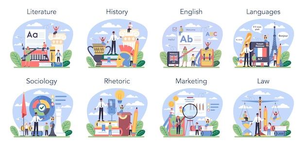 Sociale schoolonderwerp of educatieve klasse set student die sociaal studeert