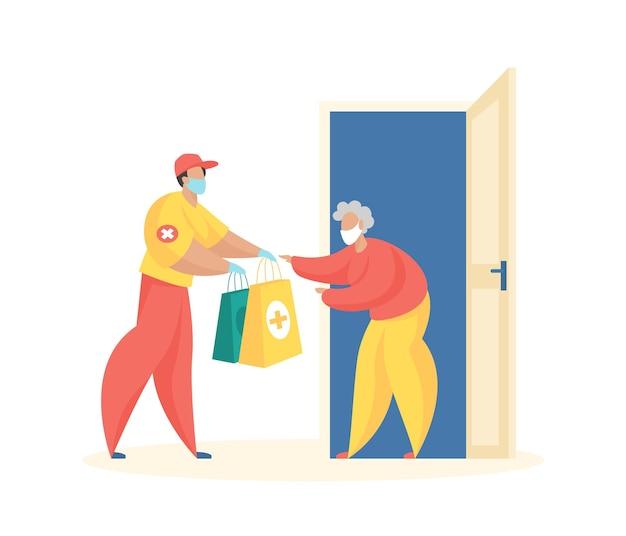 Sociale thuisbezorger koerier in uniform overhandigt pakjes medicijnen en eten aan oude vrouw