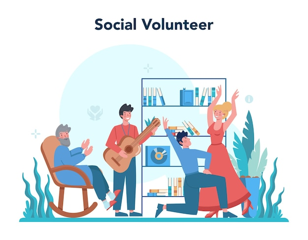 Sociale vrijwilliger illustratie