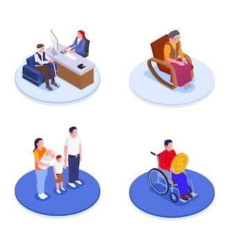 Sociale zekerheid 2x2 ontwerpconcept set van gezinsbijslagen helpen aan oudere werklozen en gehandicapten isometrische illustratie