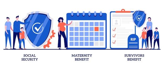 Sociale zekerheid, moederschaps- en nabestaandenuitkering. set van staatstoelage, pensioenverzekering