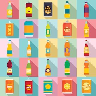 Soda iconen set, vlakke stijl