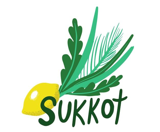 Soekot joodse feestdag. soekot-soorten met etrog, lulav, arava, hadas. geïsoleerd op een witte achtergrond. vector illustratie