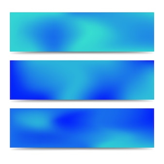 Soepele abstracte wazig kleurovergang blauwe banners set. abstracte creatieve veelkleurige achtergrond. vector illustratie