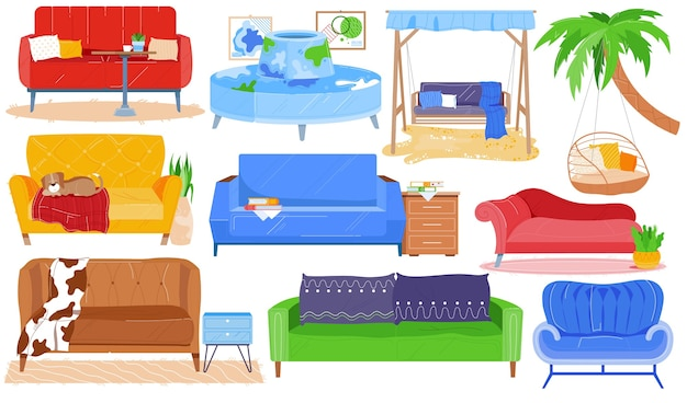 Sofa fauteuil bank, meubels van moderne kamer interieur vector set. cartoon huisinrichting collectie voor woonkamer thuis appartement