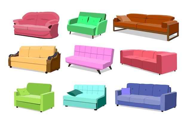 Sofa gekleurde set. comfortabele bankinzameling geïsoleerd