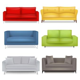 Sofa grote set geã¯soleerde witte achtergrond met verloopnet.