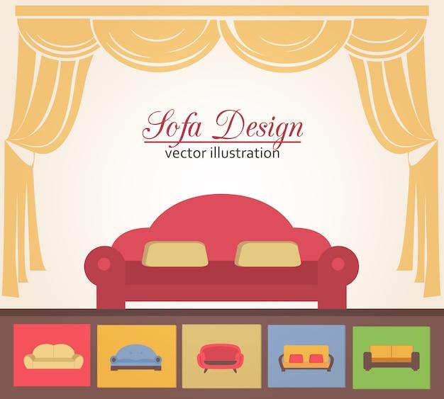 Sofa of couche ontwerp poster elementen