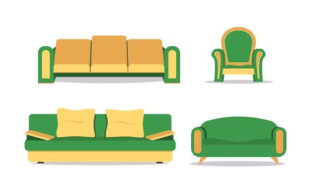Sofa set geïsoleerd