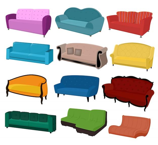 Sofa vector meubels bank stoel ingericht interieur van woonkamer in appartement woninginrichting set van moderne fauteuil slaapbank slaapbank geïsoleerd