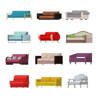 Sofa vector moderne meubels bankstoel ingericht interieur van woonkamer in appartement thuis illustratie inrichting isometrische set van moderne fauteuil slaapbank slaapbank geïsoleerde icon set
