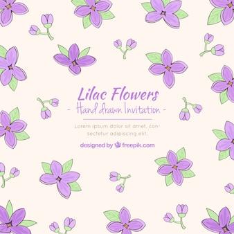 Sofisticated uitnodiging met lila bloemen