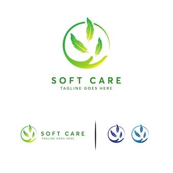 Soft care-logo, lichaamsverzorging logo sjabloon