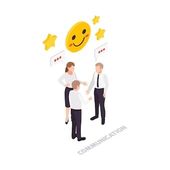 Soft skills concept icoon met drie werknemers die isometrisch communiceren