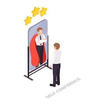 Soft skills-concept met zelfverzekerde werknemer die naar zijn weerspiegeling van superheld in isometrische spiegel kijkt