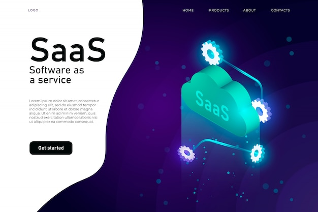 Software as a service saas-programma. it mainframe infrastructuur website header. saas-netwerk website ontwerp lay-out, cloud computing-service isometrisch