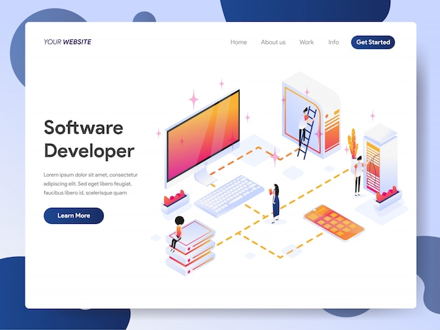 Software developer banner van bestemmingspagina