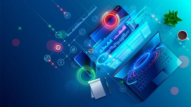 Software en website maken voor verschillende digitale pc's, pc's, laptops, tablets en telefoons.