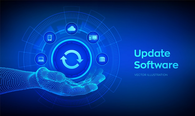 Software-illustratie op virtueel scherm upgraden