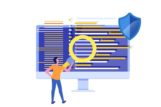 Software of applicatie plat concept. debugging ontwikkelingsproces.