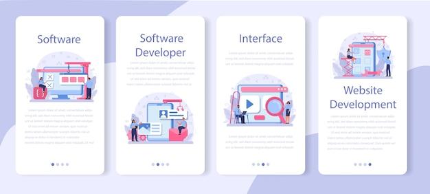 Software-ontwikkelaar banner set voor mobiele applicaties