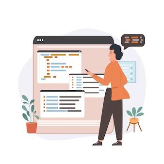 Software ontwikkelende bedrijfsprogrammeur onderzoekt code.