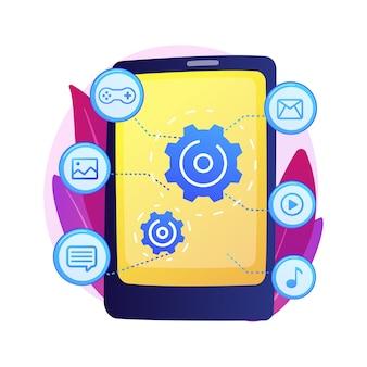 Software ontwikkeling. app-optimalisatie, programmeren. mobiele inhoud concept.