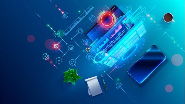 Software ontwikkeling coderingsproces concept. programmering, testen platformoverschrijdende code, app