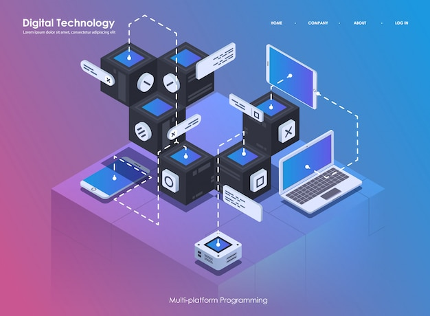 Software ontwikkeling en programmeren. codeer creatief programma of systeemproces. flat isometrische illustratie.